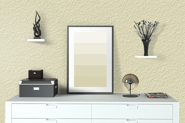 Pretty Photo frame on Lemon Chiffon color drawing room interior textured wall