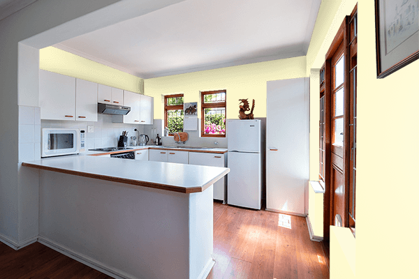 Pretty Photo frame on Lemon Chiffon color kitchen interior wall color