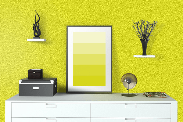 Pretty Photo frame on Yellow color drawing room interior textured wall