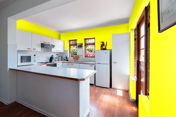 Pretty Photo frame on Yellow color kitchen interior wall color