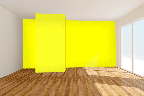 Pretty Photo frame on Yellow color Living room wal color
