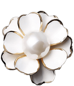 Fancy rose brooch with large pearl