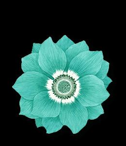 Blue-green paper flower