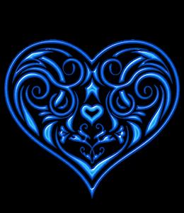 Blue heart with flourish