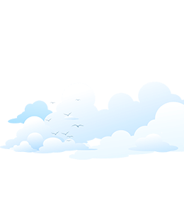 Blue Sky Cloud and Seagull Illustration