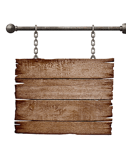 Brown colored wooden signboard