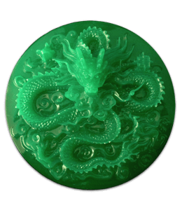 Carving on a jade gemstone