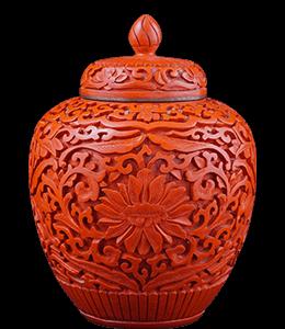 Chinese cinnabar colored vase