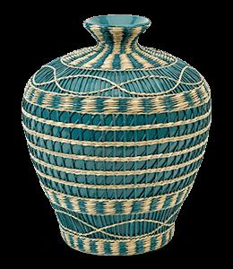 Cyan Colored Braided Flower Vase