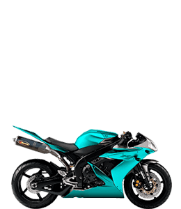 Cyan-colored sports motorcycle