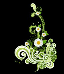 Daisies with green swirls