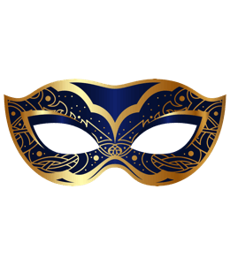 Dark blue with gold mask