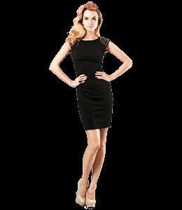 Fashion Model on black Dress