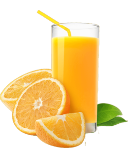 Fresh oranges and orange juice