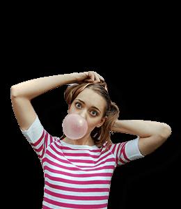 Girl Blowing Bubblegum
