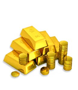 Gold coin and gold bars