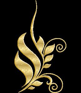 Gold colored metallic flourish