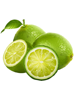 Whole and cut green limes