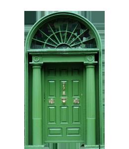 Green wooden retro door