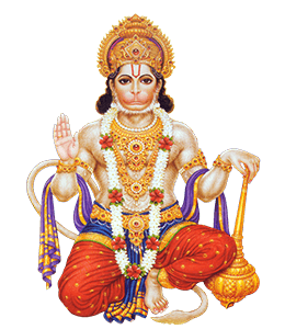 Hanuman - Hindu god covered with vermillion and burnt sienna