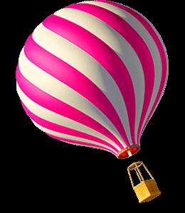 Hot pink-coloured hot air balloon