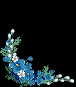 Illustration of stylised Blue flowers