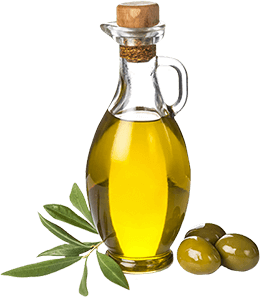 Olives with olive oil in a glass bottle