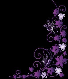 Purple flowers and butterflies