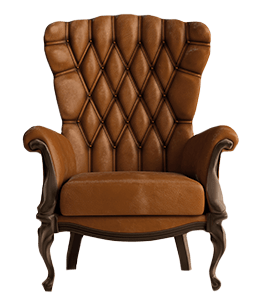 Quilted brown leather chair