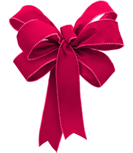 Red Christmas ribbon made into a bow