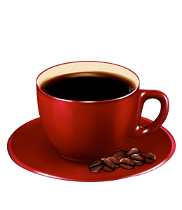 Red cup filled with Black coffee