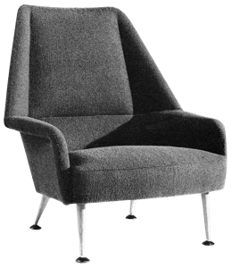 Retro chair with gray colored fabric