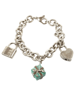 Silver bracelet with turquoise and other lucky charms