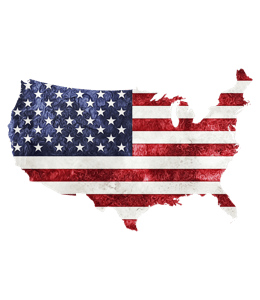 Us flag on the US map