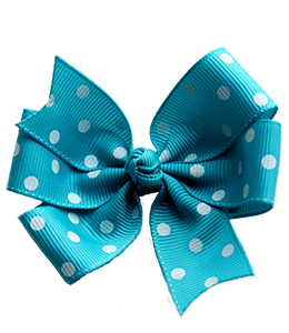 White polka dots turquoise bow