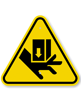 Yellow safety sign